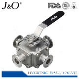 Four-Way Sanitary T-Clamp Direct Mount Ball Valve