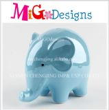 High Quality Chic Blue Elephant Ceramic Coin Bank