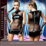 Sexy Transparent Hot Women Sexy PU Leather Lingerie Dress (TLQZ11429)
