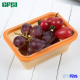 Small Sized Rectangle Food Grade Silicone Lock Foldable Container with Lid