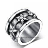 Vintage Black Stainless Steel Flower Men′s Ring, Punk Ring