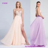 Sleeveless Chiffon A-Line Evening Dress with Embellished Deep V-Neckline Bodice and Keyhole Back