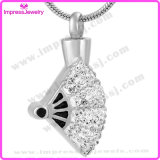 Ijd9635 New Style Folding Fan Cremation Pendant Necklace Crystal Paved Ashes Keepsake Holder Memorial Jewelry