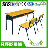 Cheap Classroom Furniture Two Seats School Desk with Chair