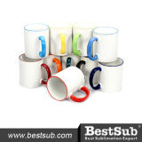 Bestsub 11oz Ceramic Mug with Orange Handle Sublimation Mugs B11b-03