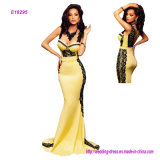 The Latest Hot Sale Lace with Yellow Sleeveless and Low Chest V Collars with High Back and Shoulders Back to The Back of The Fanny Evening Dress