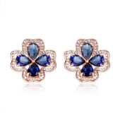 Four Leaf Clover Design 925 Silver Stud Earings Jewelry with Blue Zircon Saphire