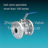 2-PC Flanged Stainless Steel Ball Valve with Low Mount Pad