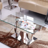 Square Marble Top Tempered Glass Coffee Table