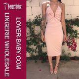 Woman MIDI Fashion Sleeveless Pink Sexy Party Evening Dress (L36046-1)