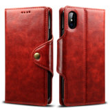 Retro PU Mobile Phone Wallet Case for iPhone X-Red