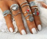 14PCS Vintage Silver Color Moon and Sun MIDI Ring