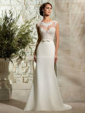 See Through Cap Sleeve Bridal Dress Lace Wedding Gown