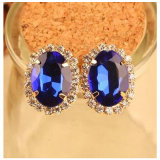 in Stock Vintage Blue Sapphire Gemstone Earrings