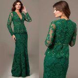 Lace Sleeves Mother of The Bride Dress Green Party Evening Dresses Ra922