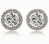 CZ Diamond Jewelry AAA Zircon Round Boucle Earrings