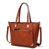 High Quality Hot Sell Tote with Metal Decorative Wardware PU Fashion Bag (WDL0214)