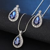 Fashion Blue Crystal Water Drop African Jewelry Set