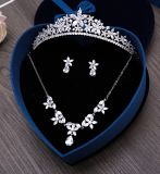 Cubic Zirconia Bride Tiara Crown Gorgeous Silver Plated Crystal