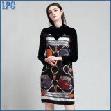 Black Stitching Wax Printing Folk Style Long Sleeved Ladies Dress