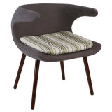 Fiberglass Shell Upholstered Dining Chair with Solid Wood Leg
