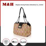 Beaded Bag Handles Fashion PU Women Bag in Brown Color