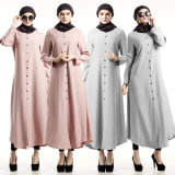 Long Sleeve Maxi Dress Muslim Islamic Clothing Abayas (A976)