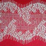 New Design White Leaf Pattern Mesh Fabric Eyelash Lace for Wedding Dress/ Evening Gown/ Dresses
