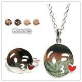 Personalized 925 Silver Smiley Lips Emoji Sign Language Silver Jewelry Sets (S3394)
