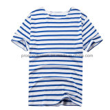 Flat Knit Stripe T-Shirt Blue and White Stripe T-Shirt