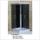 Complete Shower Room with Black Painting Tempered Glass