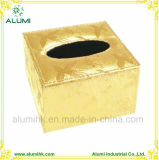 5 Star Hotel Luxury Gold Colour Square Leather Tissue Box