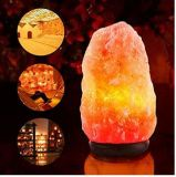 Hand Carved Natural Crystal Himalayan Salt Lamp with Neem Wood Base, Bulb and UL-Approved Power Cord (7-8 inch, 5 - 8lbs)