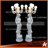 White Marble Natural Stone Road Lights Statues Street Lamp