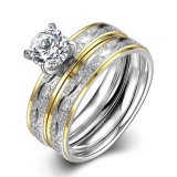 Fashion Titanium Steel Double Ring Round Zircon Finger Ring Gold Plated Design for Women