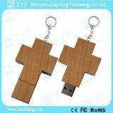 Cross Shape Wood USB Drive with Keychain (ZYF1307)
