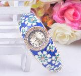 Alloy Diamond Sunflower Traditional Blue Enamel Handicraft Hand-Made Watch