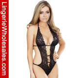 Sexy Women′s Large Deep-V Halter Bandage Lace Teddy Lingerie Nightwear