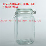 1250ml Square Glass Food Jar, Seal Food Container with Glass Lid