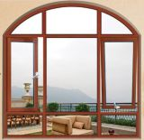 Modern Design Chinese Wholesale Wood Color Hurricane Impact Windows /Thermal Break Aluminium Casement Window with Arched Top/Zhejiang, Roomeye Brand (ACW-021)