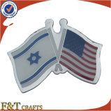 Decorative OEM Painted Silver Enamel Double Flag Pins (FTFP1609A)
