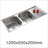 Kitchen Stainless Steel Double Bowl with Side Drain Board One Stretched Sink (12050YQ-1)