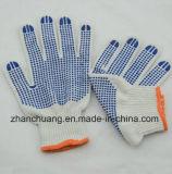 Anti Slip Seamless Bleached White Cotton Blue PVC Dotted Gloves