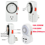 24hour 10 AMP Grounded Plug in Outlet Mechanical Switch Timer