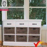Handmade White Painting Small Wood Vintage Sideboard