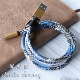 2.4A Fast Charging Snake Skin Sew Leather Line USB Cable