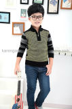 High Neck Zipper Argyle Ribbed Children Sweater