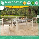 Aluminum Dining Set Modern Dining Chair Wire Drawing Furniture Garden Furniture Outdoor Furniture Aluminum Drawing Chair Poly Wood Table (Magic Style)