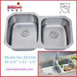 Under Mount Double Bowl Stainless Steel Kitchen Sink (8553AL)