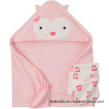 100% Cotton Knitted Baby Hooded Towel Swaddle Towel with Elegant Design